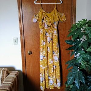 One Clothing Yellow Cold Shoulder Maxi Dres